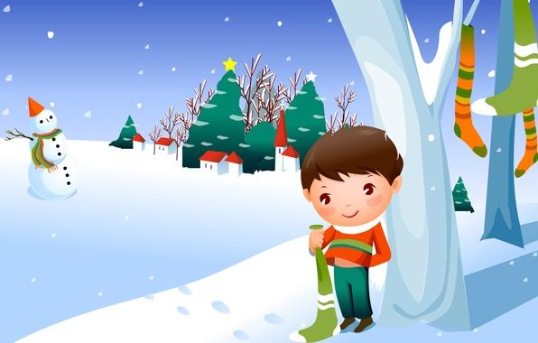 Картинка зима, снег, мальчик, снеговик, посёлок, ёлки, детские обои