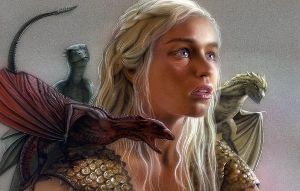 Картинка дракон, сериал, Series, dragon, Игра престолов, Emilia Clarke, Daenerys Targaryen, Game of thrones, HBO