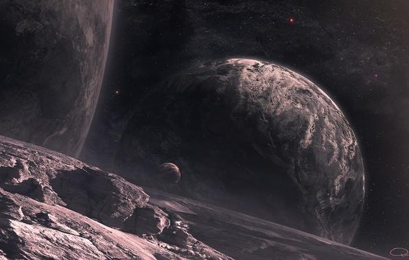 Картинка космос, звезды, поверхность, ландшафт, планеты, спутники