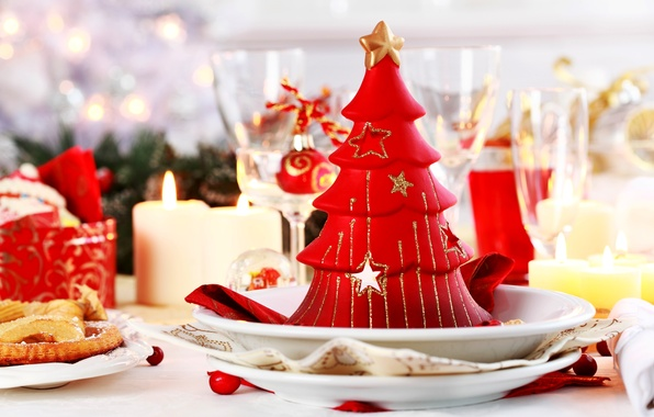 Картинка свет, украшения, lights, дерево, праздник, шары, свечи, Новый год, Happy New Year, balls, tree, Merry …