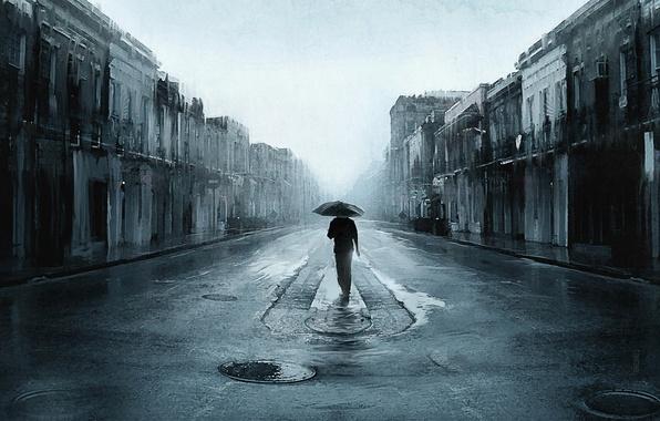 Картинка дорога, город, дождь, один, человек, зонт, арт