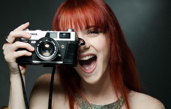 Картинка смех, фотоаппарат, рыжая, canon