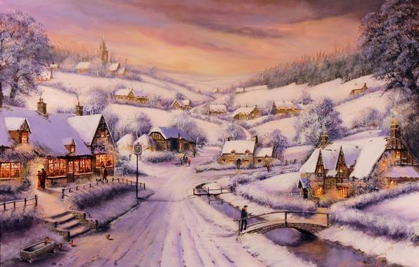 Картинка зима, дорога, лес, снег, деревья, мост, река, люди, картина, вечер, домики, Gordon Lees