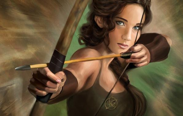 Фото обои арт, Jennifer Lawrence, The Hunger Games, голодные игры, Katniss Everdeen, Дженнифер Лоуренс, стрела, лук