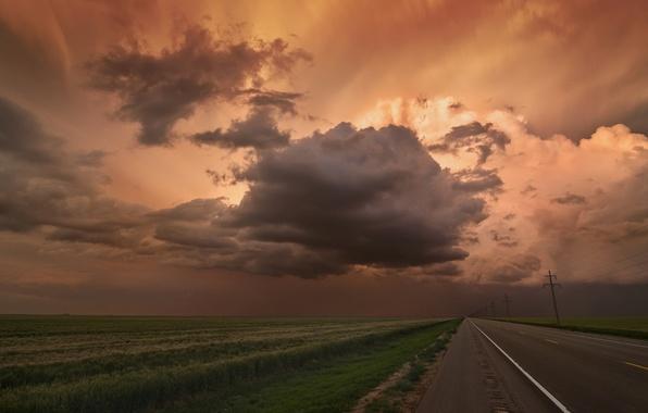 Картинка дорога, поле, небо, пейзаж, тучи, природа, горизонт