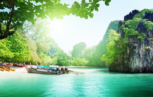 Картинка море, небо, острова, облака, деревья, пейзаж, горы, природа, озеро, океан, лодки, Таиланд, Thailand, sky, trees, ...