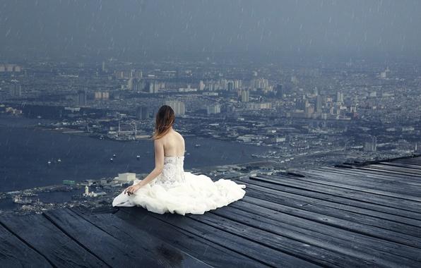 Картинка девушка, капли, город, дождь, вид, высота, арт, Sky Land