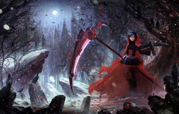 Картинка девушка, аниме, арт, ruby, rwby, upscale, ruby rose, hbptcsg2
