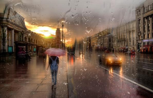Дождливый город фото