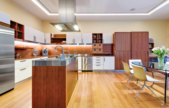 Картинка цветы, дизайн, стиль, стол, мебель, стулья, техника, холодильник, кухня, interior, kitchen, desigen, ваза.