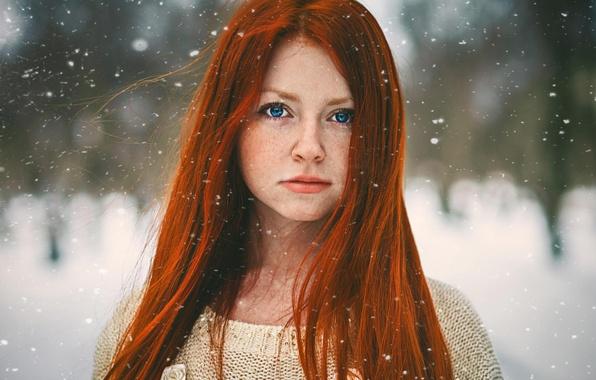 Картинка снег, портрет, рыжеволосая, red girl