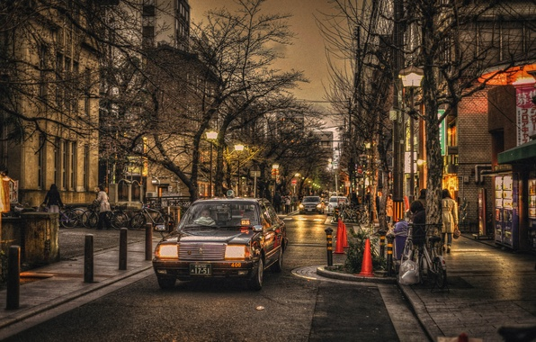 Картинка деревья, велосипед, люди, улица, фары, неон, Япония, Киото, автомобили, магазины, быт, фонарный столб, рестораны