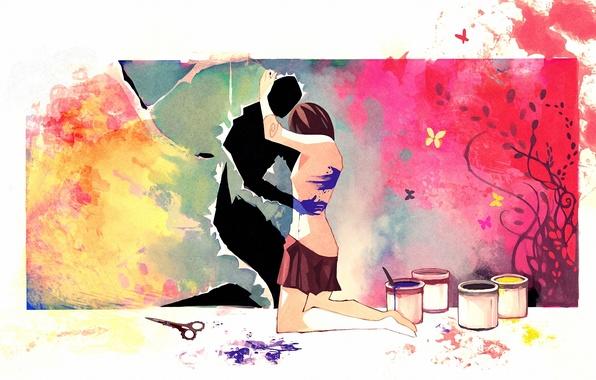 Картинка девушка, краски, рисунок, арт, ножницы, объятие