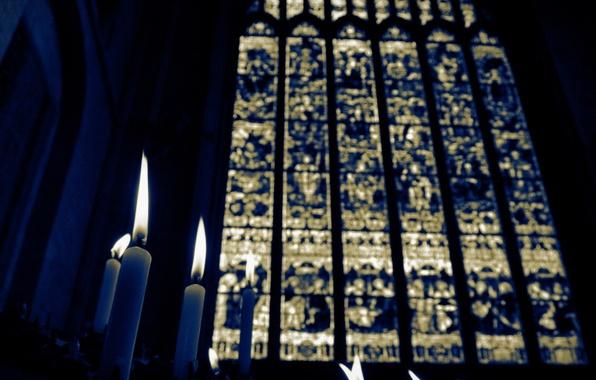 Картинка свечи, церковь, витраж