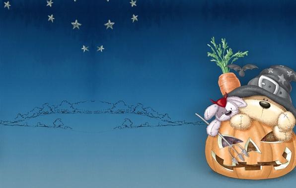 Картинка праздник, морковка, арт, тыква, медвежонок, Хэллоуин, зайчик, детская