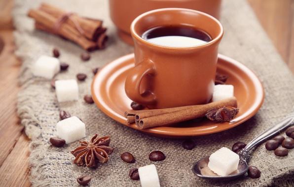 Картинка кофе, зерна, ложка, чашка, сахар, корица, блюдце, пряности, бадьян, анис