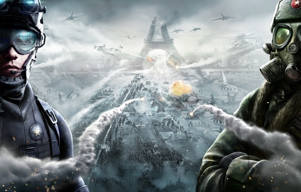 Картинка небо, огонь, война, дым, взрывы, армия, ракеты, очки, разрушение, солдаты, противогаз, шлем, экипировка, самолёты, голограмма, …