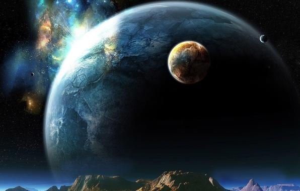Картинка небо, космос, звезды, фантастика, планеты