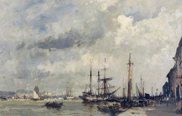 Картинка корабль, картина, морской пейзаж, городской пейзаж, Эдуард Сиго, Пристань в Лиссабоне