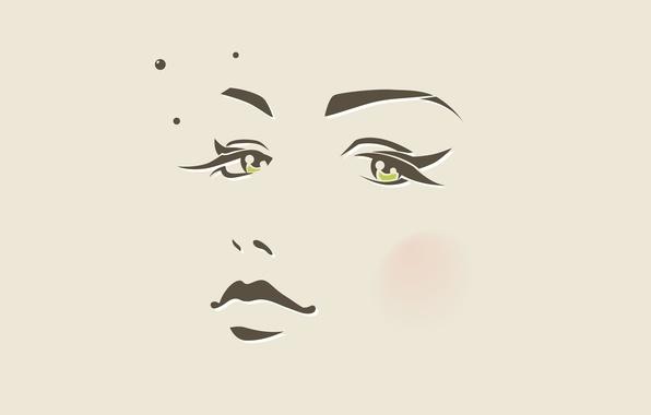Картинка глаза, девушка, круги, лицо, минимализм, вектор, нос, губы, родинка, бежевый, зрачки, румяна, face