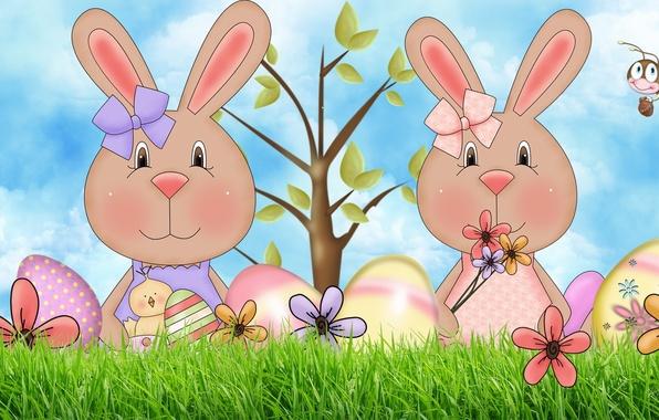 Картинка дерево, яйцо, арт, пасха, пчёлка, зайчик, бантик, цыплёнок, цветочек, пасхальный зайчик