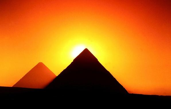 Картинка солнце, закат, силуэт, Гиза, зарево, Египет, пирамиды