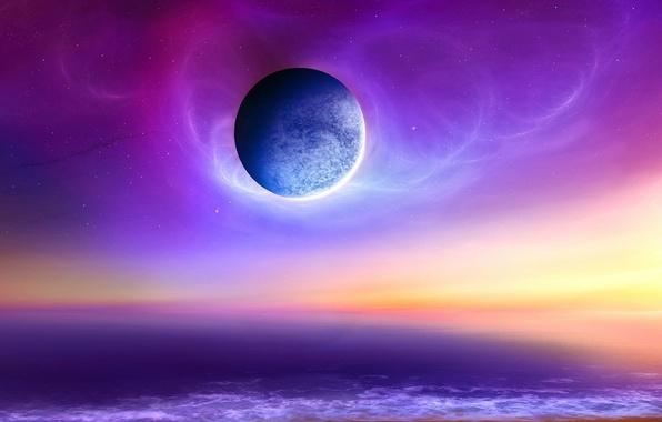 Картинка море, небо, космос, планета