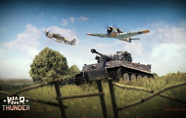 Картинка Тигр, истребитель, танк, Tiger, наступление, немецкий, поршневой, одномоторный, Фокке-Вульф, Focke-Wulf, тяжёлый, War Thunder, Panzerkampfwagen VI, …