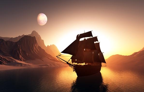 Картинка море, небо, пейзаж, закат, горы, отражение, рендеринг, океан, графика, корабль, паруса