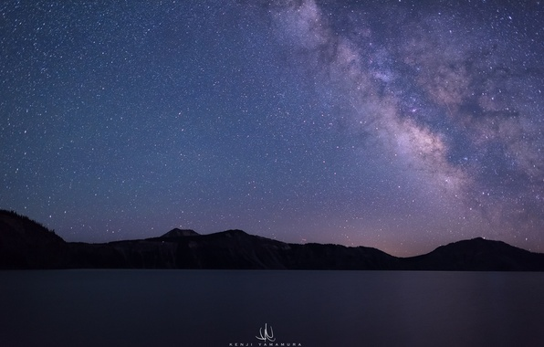Картинка USA, млечный путь, Oregon, photographer, Crater Lake, Kenji Yamamura