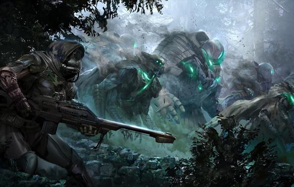 Картинка лес, оружие, робот, армия, войны, маска, concept art, Destiny