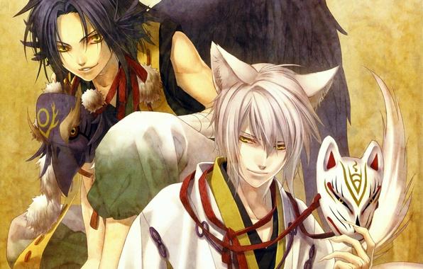 Обои демоны, двое, hiiro no kakera, yuuichi komura, крылья ...