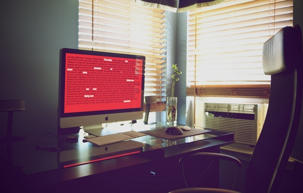Картинка цветок, стол, кресло, клавиатура, монитор, рабочее место, iMac
