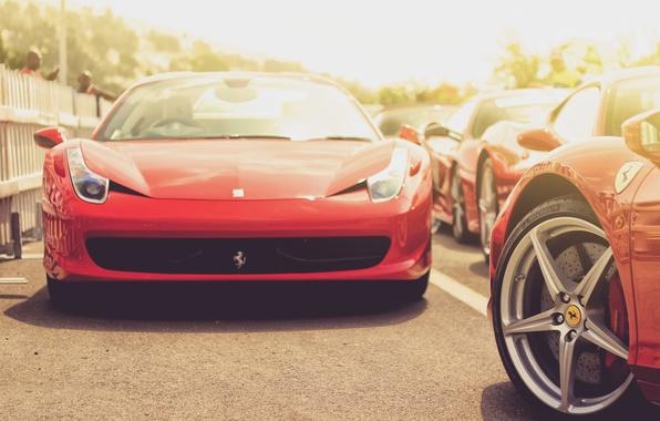 Картинка car, авто, красный, red, спорткар, ferrari, феррари