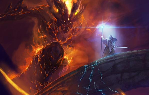 Картинка мост, Balrog, схватка, Gandalf, Lord of the rings