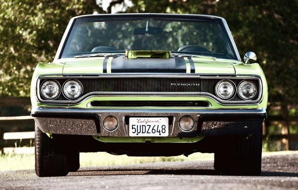 Картинка Зеленый, Машина, Автомобиль, Beautiful, Green, 1970, Plymouth, Wallpapers, Красивая, Convertible, Плимут, Обоя, Road Runner, Automobile, …