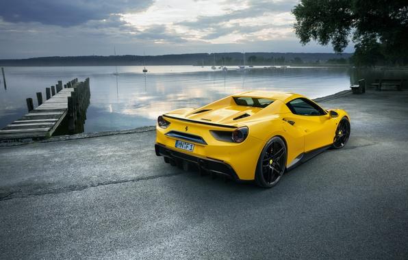 Картинка car, небо, желтый, причал, Ferrari, автомобиль, yellow, wallpapers, задок, Spider, Rosso, Novitec, 488