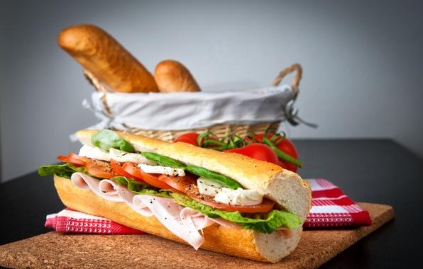 Картинка корзина, сыр, тарелка, хлеб, помидоры, салат, ветчина