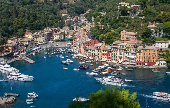 Картинка море, пейзаж, дома, бухта, яхты, лодки, Италия, панорама, Портофино