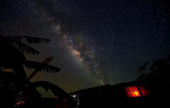 Картинка космос, звезды, свет, ночь, пространство, дом, окно, млечный путь