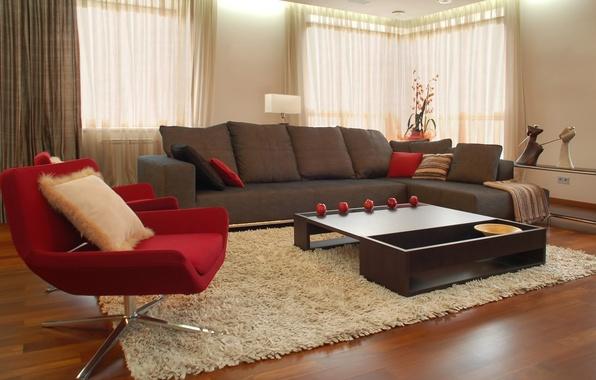 Картинка дизайн, стиль, комната, диван, красное, ковер, яблоки, мебель, интерьер, кресло, коричневый, столик