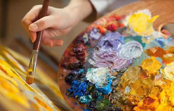 Картинка макро, краски, размытость, палитра, творчество, искусство, кисть, художница, рисование, боке, мольберт, wallpaper., good idea, цветые