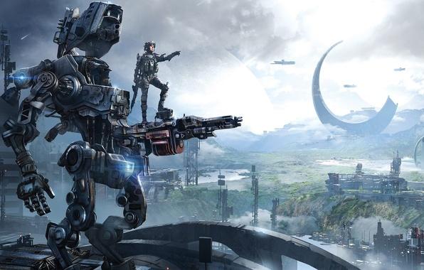 Картинка Робот, Здания, Солдат, Охотник, Electronic Arts, Пилот, DLC, Титан, Экипировка, Оружия, Titanfall, Respawn Entertainment, Titanfall: …