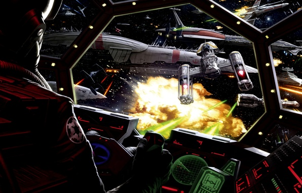 Картинка Star Wars, Art, Cockpit, Battle, TIE fighter