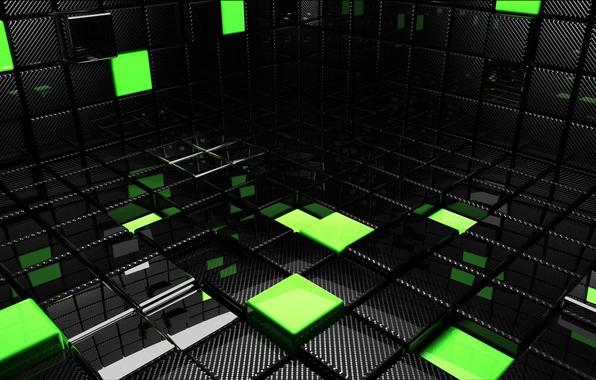 Фото обои кубы, кубики, квадраты, зеленые, черные