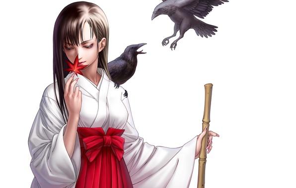 Картинка девушка, птицы, лист, вороны