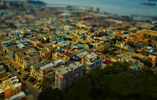 Картинка крыша, море, вода, деревья, машины, города, океан, вид, дороги, дома, стоянка, trees, sea, ocean, photo, …