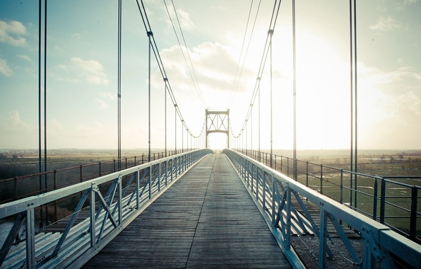 Картинка небо, облака, пейзаж, мост, природа, city, город, фон, widescreen, обои, провода, даль, wallpaper, sky, landscape, …