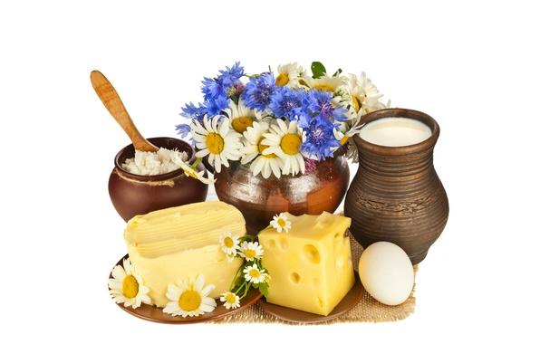 Картинка цветы, яйцо, масло, ромашки, букет, сыр, молоко, блюдца, творог, циновка, горшочек, аппетитно, кувшины