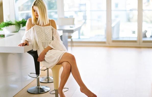 Картинка girl, windows, sunshine, houses, lips, hair, chairs, kitchen, balcony, short dress